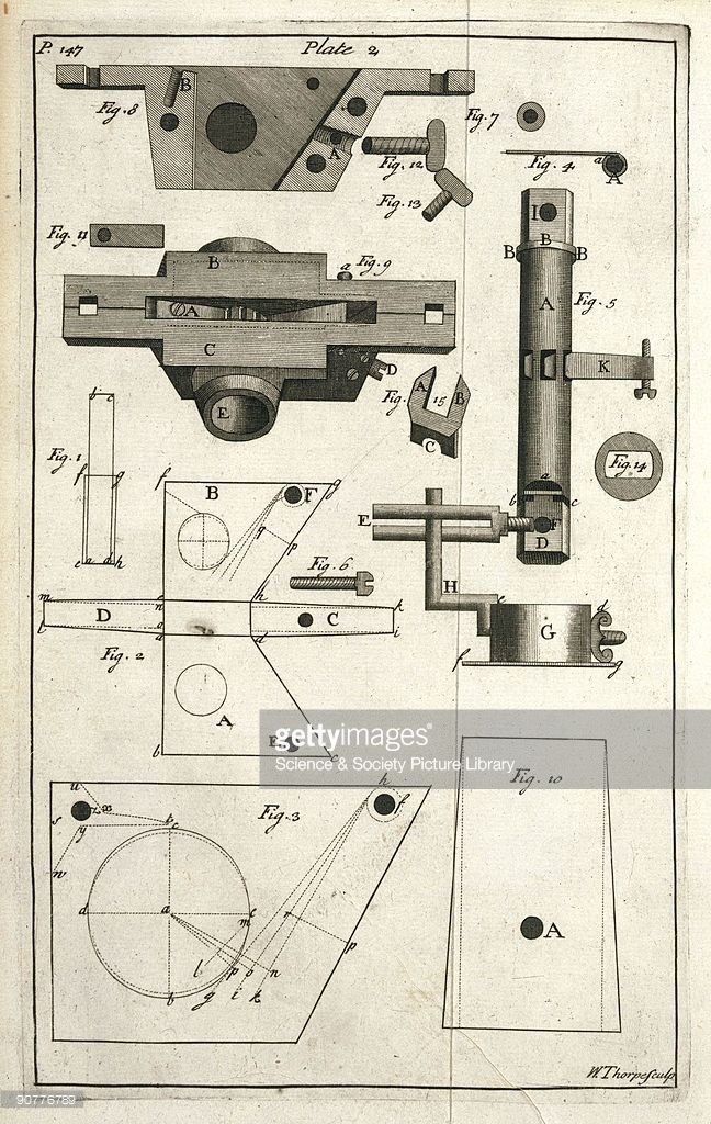 Illustrated plate (page 147) taken from 'The horse-hoing husbandry' (2nd Edition, London, 1743) by Jethro Tull (1674-1741), showing the component parts of the seed-box that is attached to the seed drill. Tull began his investigations into scientific methods of seed cultivation in the late 1600s. In around 1701 he produced his first drill to make channels, drill and cover the seed. A grooved cylinder rotated against a spring-held tongue, received the seed from the seed-box and dropped it…