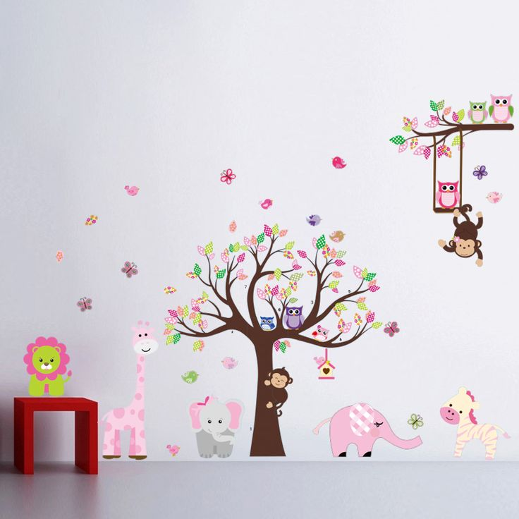 Find More Wall Stickers Information about King Tree Animal Cartoon Owl Monkey Giraffe Elephant Wall Stickers for Baby Children Kids Rooms Boys Girls Home Decor Wallpaper,High Quality wall mural sticker,China wall stickers hello kitty Suppliers, Cheap wall stickers ikea from Homepro365 on Aliexpress.com