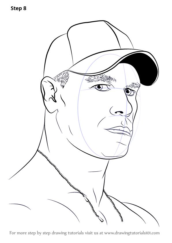 Step By Step How To Draw John Cena Drawingtutorials101 Com In 2021 John Cena Drawings Wwe Coloring Pages