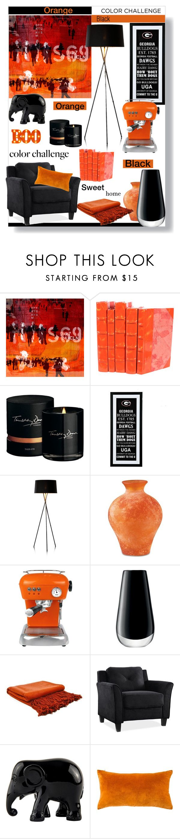 """""""Boo! Orange and black in my home."""" by fashionlovestory ❤ liked on Polyvore featuring interior, interiors, interior design, home, home decor, interior decorating, The Artwork Factory, Timothy Dunn, Ascaso and LSA International"""