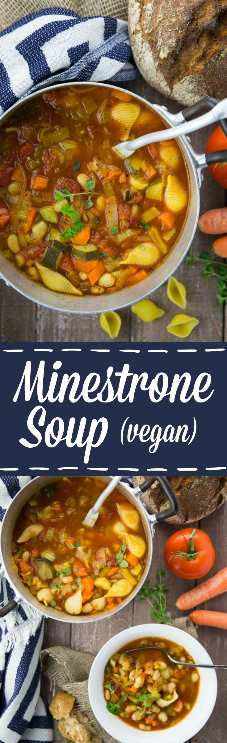 This vegan minestrone soup with white beans is perfect for cold winter days! It's super easy to make, incredibly healthy, and comforting!