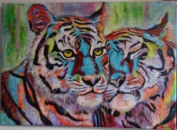 Tableau peinture tigre sauvage afrique contemporain animaux acrylique calin ballerines - Peinture glycero ou acrylique ...