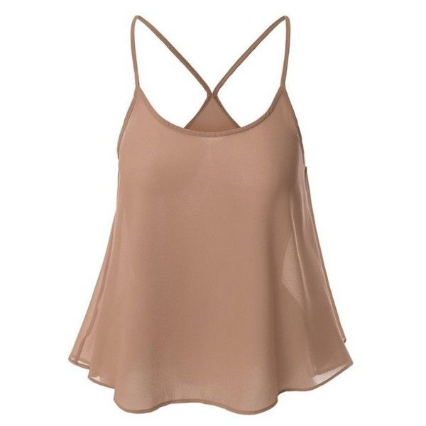 Candy-Colored Chiffon Cami Top Nude ($15) ❤ liked on Polyvore featuring tops, chiffon cami top, camisole tops, beige top, chiffon camisole and chiffon tops