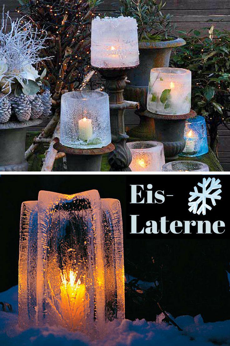 Ein Windlicht aus gefrorenem Wasser? Ja, das hält und das selbst in der Wohnung für bis zu vier Stunden!  #windlichter #laternen #kerzen #weihnachten #christmas #Weihnachtsdeko