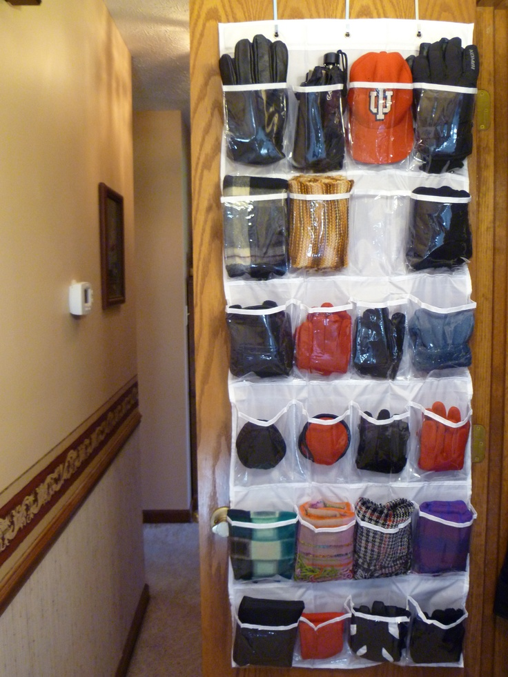 Store Hats, Gloves And Scarves In An Over Door Shoe Organizer  Keeps Things  Visible