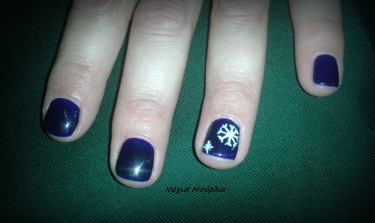 Nailart~Handmadenailart~Snowflake~ blue nails~christmas nails