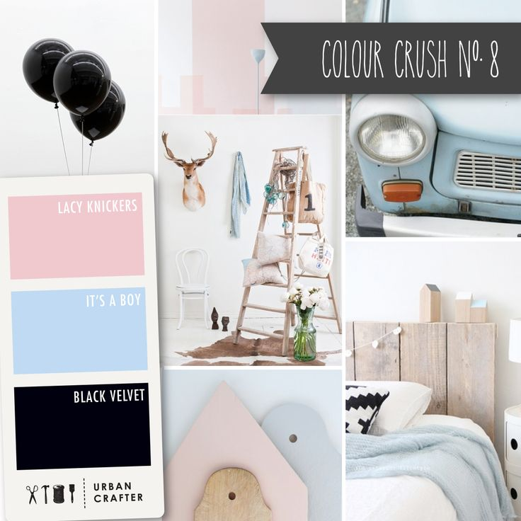 """Urban Crafter Colour Crush Mondays www.urbancrafter.com.au Colour Crush #8. Get a similar look with Urban Crafter acrylic paints """"Lacy Knickers,"""" """"It's a Boy"""" and """"Black Velvet."""""""