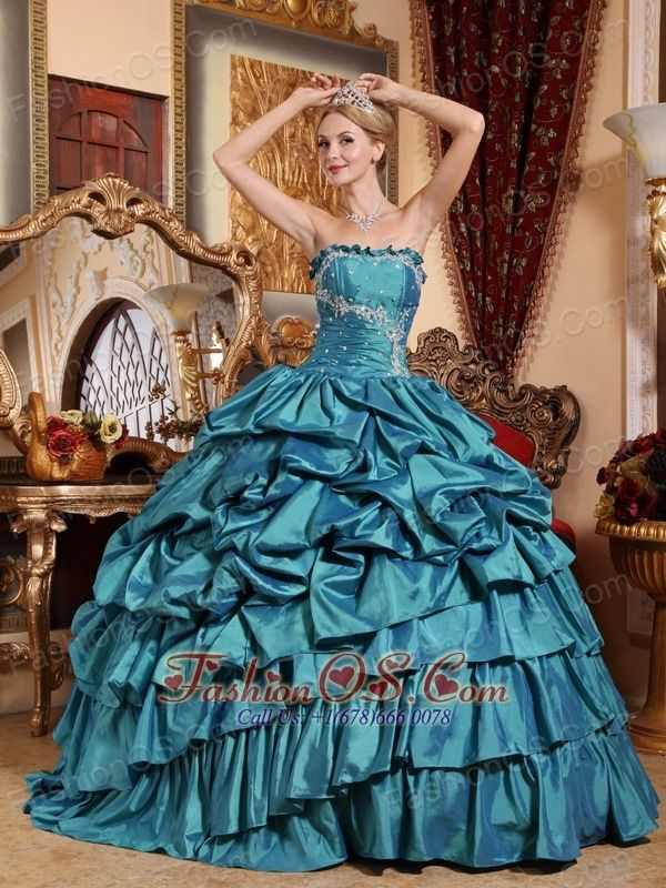 Popular Teal Quinceanera Dress  Strapless Taffeta Appliques and Pick-ups Ball Gown  http://www.fashionos.com    This fabulous quinceanera gown is just perfect for any occasion. A special designed strapless neckline is employed on the embroideried bodice to give a stylish look. Asymmetrical pick ups make the dress puffy and snappy. A lace up back make the dress fit you perfectly well!