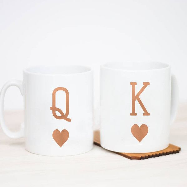 Little Pieces King And Queen Mug (220.180 IDR) ❤ liked on Polyvore featuring home, kitchen & dining, drinkware, wedding mugs, valentines day mug and couple mugs