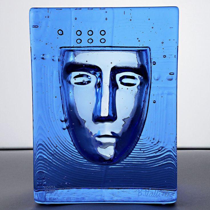 Bertil Vallien (2000s) Mythological Blue Glass Sculpture Mask