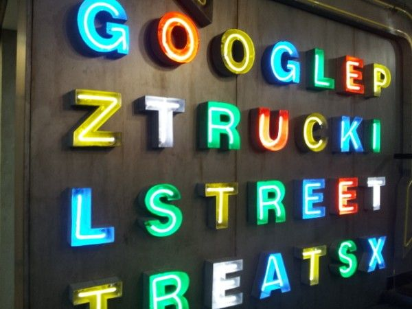 Food truck parked inside at Google's NYC office. Just for desserts. #google