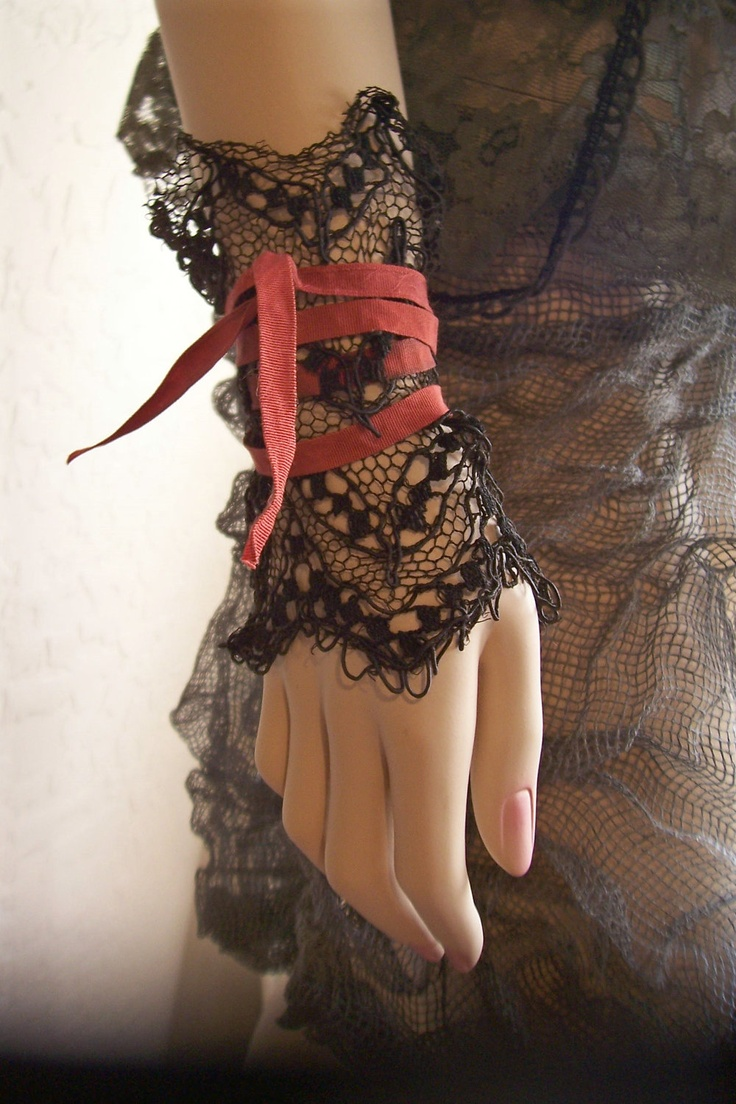Tattered Lace Fingerless Gloves/Wrist Warmers/Cuffs - Black Victorian Antique Lace - Steampunk, NeoVictorian, Shabby Witch, Halloween. $24.00, via Etsy.