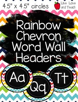 """This is a PDF document for Rainbow Chevron Word Wall Headers. The circles are 4.5"""" x 4.5"""" and have a rainbow chevron pattern!Use these as headers for your classroom word wall, for labeling drawers or bins in alphabetical order, or even for """"letter of the week"""" labels. * PDF pages are set to 8.5"""" x 11""""."""