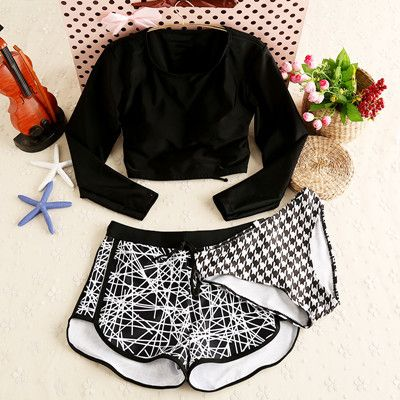 Long Sleeve Women Swimwear 3 Pieces Sexy Bandage Swimsuit Black Padded bra Boxer Underwear Bathing Suit