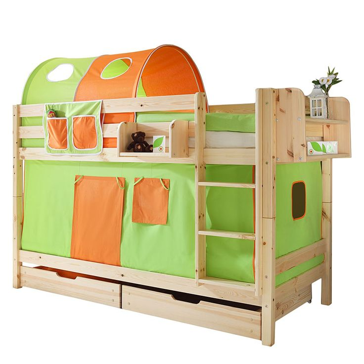 Etagenbett Marcel I - Kiefer massiv - Grün/Orange - Mit Tunnel, Ticaa Jetzt bestellen unter: https://moebel.ladendirekt.de/kinderzimmer/betten/etagenbetten/?uid=1e82cd03-90c4-5389-a4ae-96aad74d7776&utm_source=pinterest&utm_medium=pin&utm_campaign=boards #möbel #etagenbetten #kinderzimmer #teens #betten #ticaa #kids