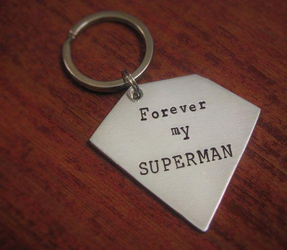 Superman Gift Key Chain SUPER HERO Keychain by BrisydanHandyCrafts