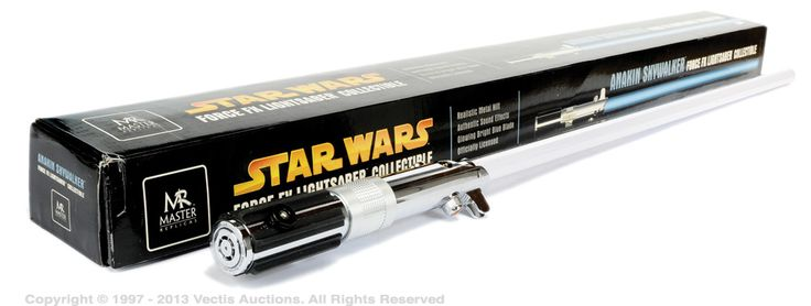 Star Wars. Packaging for a light saber. Slick and simple design. Clear to what it is and what it is used for. Aimed at young children and Star Wars fans.