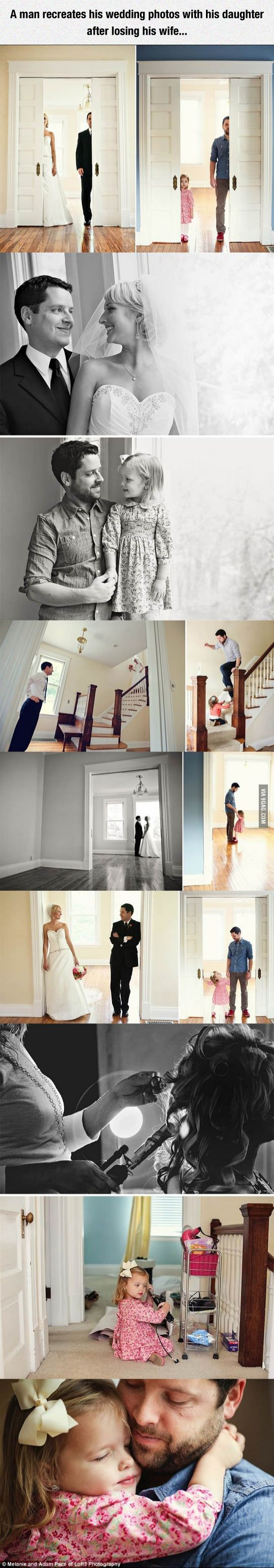 A man recreates his wedding photos with his daughter