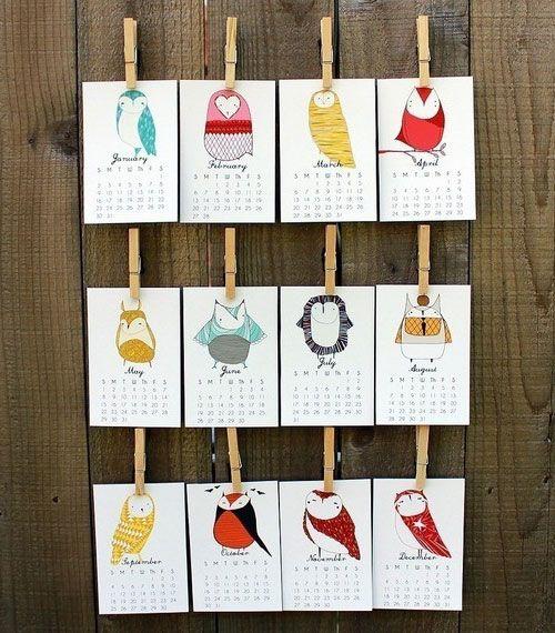 birds on calendars. cool