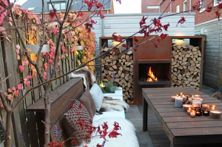 .kleine tuin grote vuurplaats