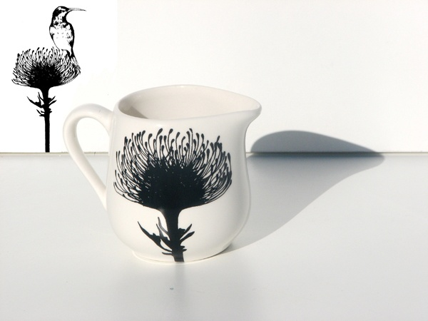 "Protea black ""n white ceramic design from Tamarillo"