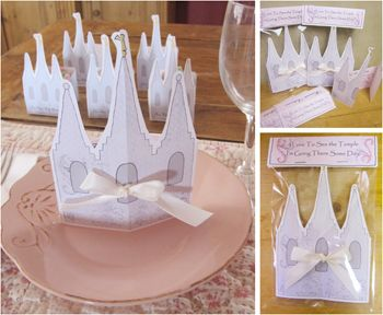 """We made these """"Temple Invitations"""" for a Young Women/Relief Society Activity. They were personalized and hand delivered for that special touch. This packet includes temple images and instructions on how to assemble the invitations. Download, print, and party."""