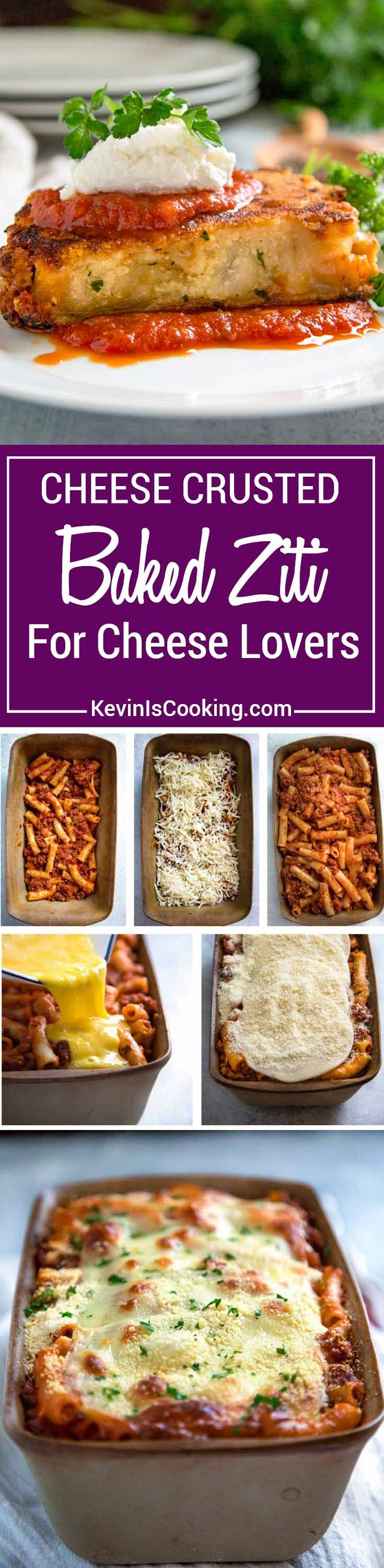 Cheese Crusted Baked Ziti - This classic baked ziti with a bolognese sauce has extra cheese pan fried on each side for extra cheesy goodness. via @keviniscooking