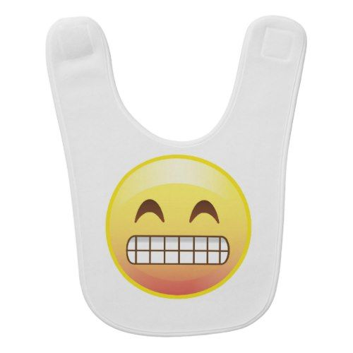 Cheese Smile, Up to No Good Emoji Face Baby Bib