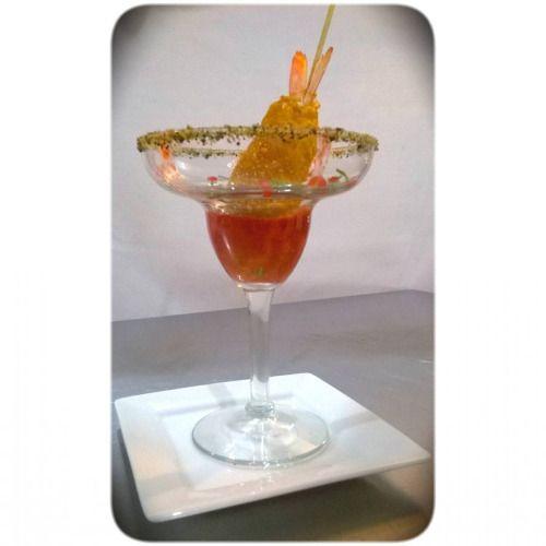 Camarones crocantes en salsa de frambuesa, chipotle y mezcal (en Alianza Gastronomica)