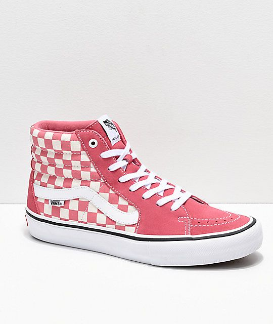 Vans Sk8 Hi Pro Desert Rose Checkerboard Skate Shoes