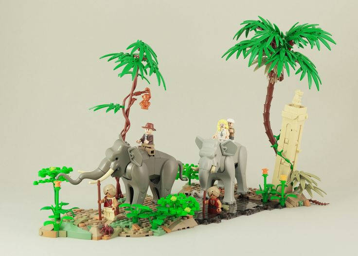 https://flic.kr/p/T792Ks | Indiana Jones - elephant ride | I always wanted to use my two elephants from the Orient Expedition sets. With the visualization of this scene from Indiana Jones Temple of Doom I finally got the chance to do so. Definitely not my last jungle MOC. I enjoyed playing around with colours and different plants.
