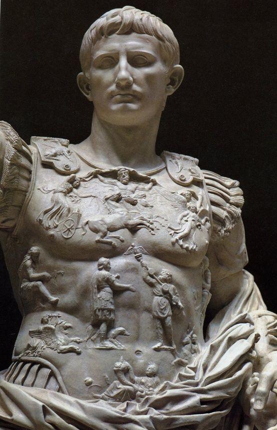 Ancient Roman Augustus of Prima Porta, 1st century, white marble