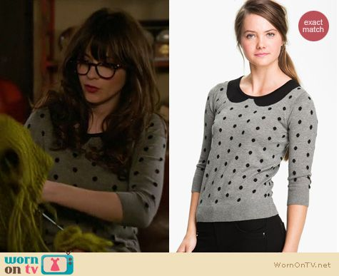 Jess's grey and black polka dot sweater on New Girl.  Outfit details: http://wornontv.net/11403/