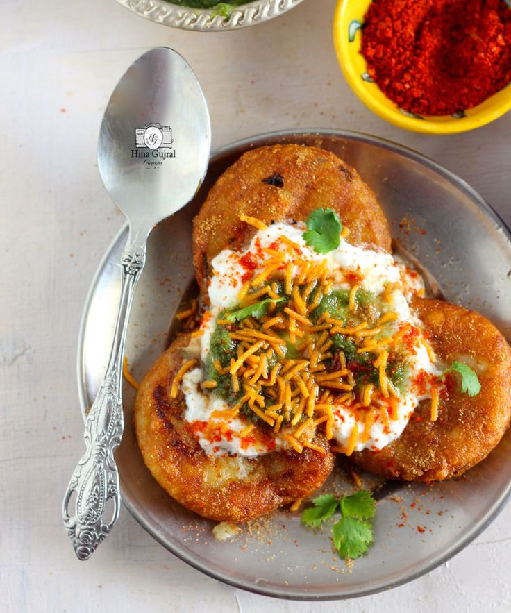 Aloo tIkki Chaat Recipe -- use this one, it has the perfect recipe for the stuffing inside