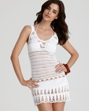 Crochet Short Dress >> not your grandmother's latest crochet project. Beach Babe'n it #ShuttingitDOWN