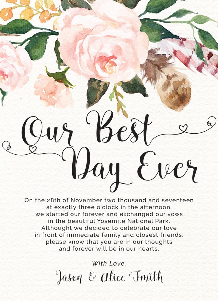 Personalized and printable wedding announcement card available in printed and digital copy. This elopement announcement card is simple yet elegant. Decorated with a gigantic flower arrangement, this lovely elopement marriage announcement card will definitely complete your marriage announcement. It has a text that says Our Best Day Ever in a beautiful font. This wedding announcement card is special in such a way that it allows you to add your personalized letter to your family and friends…