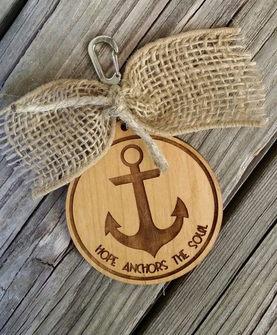 Hope Anchors The Soul  Anchor Keychain  Wooden by NeedmoreHeart, $18.00