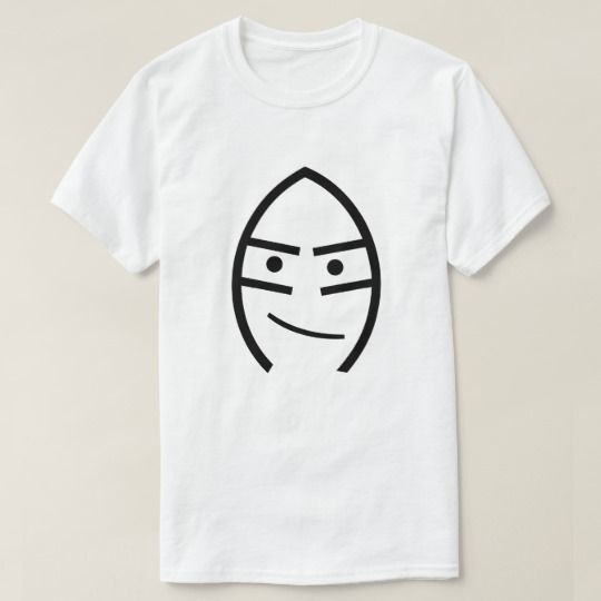Face with a smile on a white t-shirt. You can customize this t-shirt to change the color of the font, change the font size and type and more to turn it into you own unique t-shirt.
