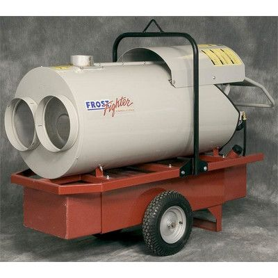 """Frost Fighter 420,000 BTU Oil-Filled Utility Propane or Natural Gas Space Heater Outlet: Dual Outlet 12"""", Add Duct Hose: Duct Hose 12"""" Diameter, 25', Thermostat: Remote TSTAT with 25' Cord Length IDF - XXX - OIL Dual Outlet47102A 47301"""