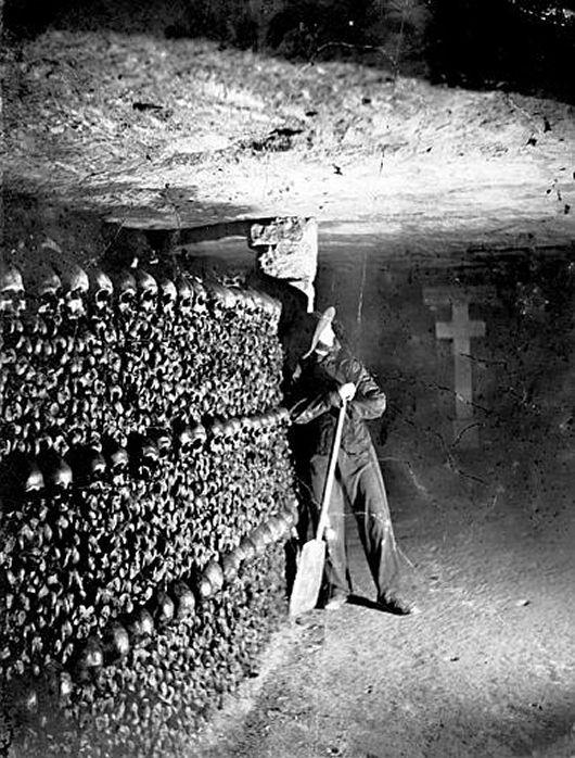 Felix Nadar. Worker in the Paris Catacombs. 1860