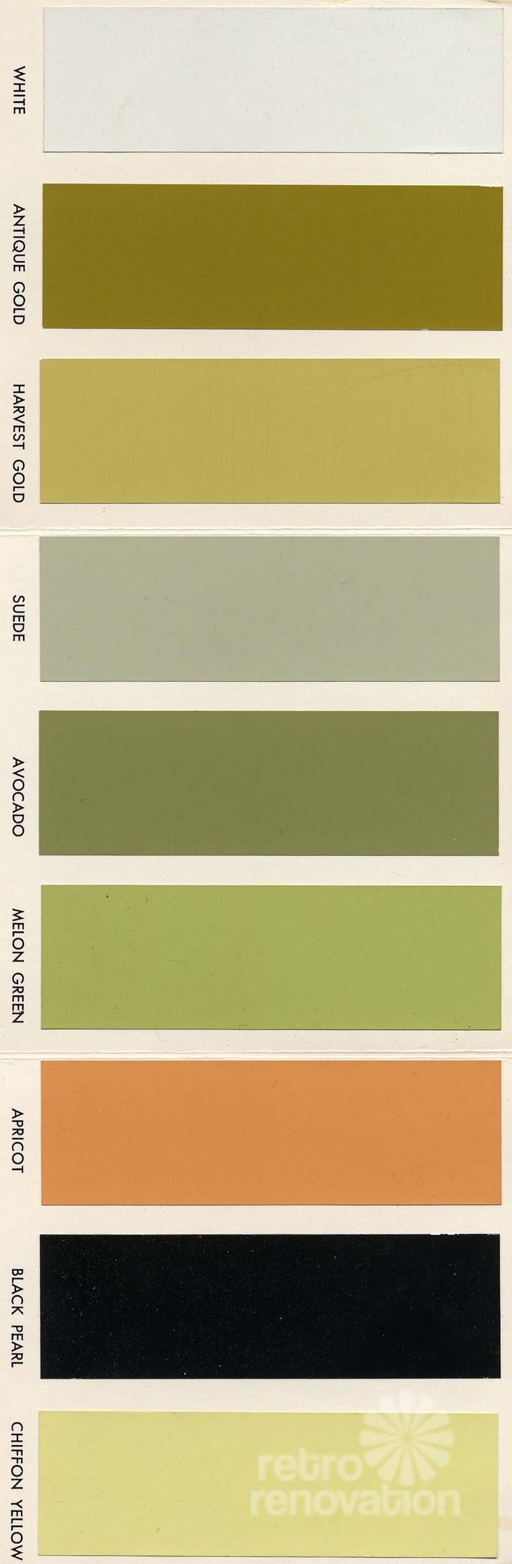 a brochure from the 1960s that shows 18 paint colors for vintage St. Charles kitchen cabinets -- including avocado and harvest gold, of course.