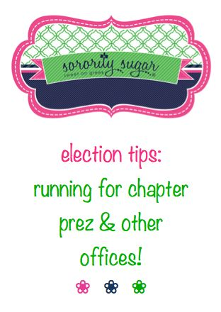 interviews and speeches can be challenging! sorority sugar has several helpful posts on running for elected office with confidence. <3 BLOG LINK:  http://www.sororitysugar.tumblr.com/tagged/president