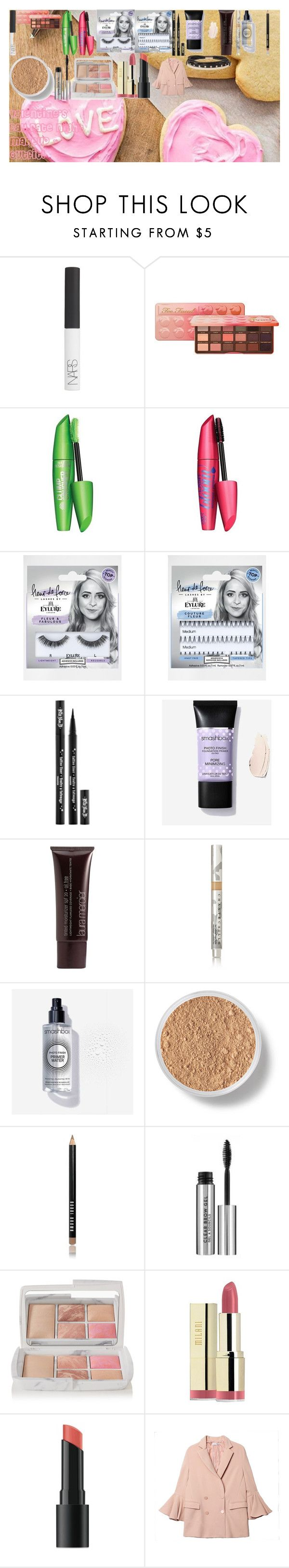 """""""Valentine's Day Date Night Makeup + Outfit!"""" by oroartye-1 on Polyvore featuring beauty, NARS Cosmetics, Too Faced Cosmetics, eylure, Kat Von D, Laura Mercier, Chantecaille, Bare Escentuals, Bobbi Brown Cosmetics and Hourglass Cosmetics"""
