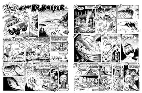 Surf Art: This high quality art poster print from Bob Penuelas's titled Camp Trip to Skeleton Cove is now available from Bob Penuelas's art portfolio collection. Created on May 1992 and first published in Surfer Magazine, September 1992, Volume 33, Number 9. Wilbur tags along with the Slasher Surf Club on a camping trip, up north. They discover a dead guy on the beach, but to save a hassle that might cut into their surfing time they plan to wait until they get home to report it.