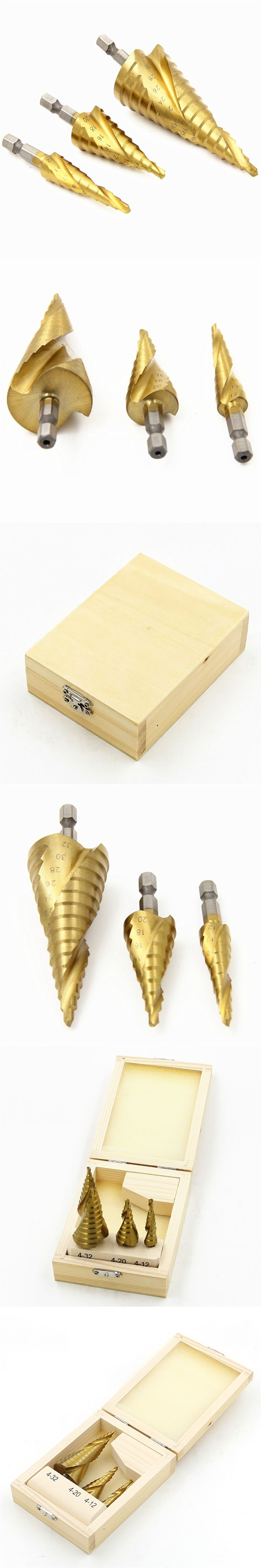 Wooden box packing 3pcs HSS Spiral Grooved Core Cone Step Drill Bits 1/4 Hex Shank 4mm to 12mm 20mm 32mm Chamfer Hole Cut Cutter