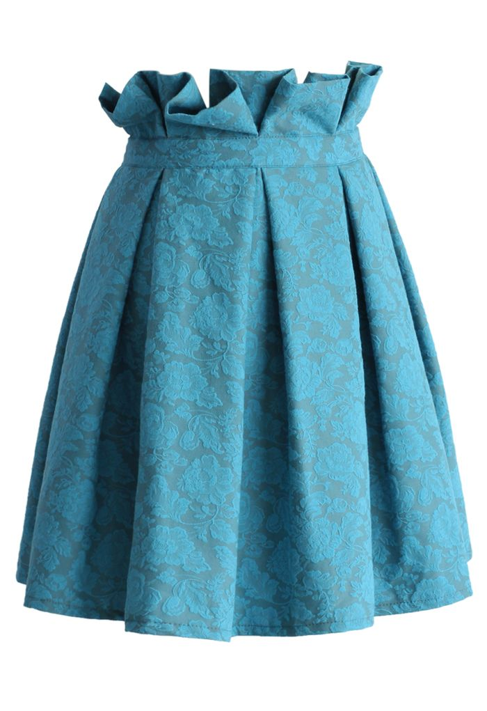 Turquoise Rose Embroidered Pleated Skirt - Skirt - Bottoms - Retro, Indie and Unique Fashion