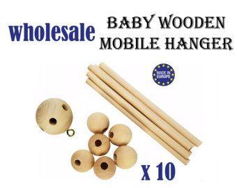 1 x Baby houten mobiele Hanger. DIY baby mobiele. natuurlijke
