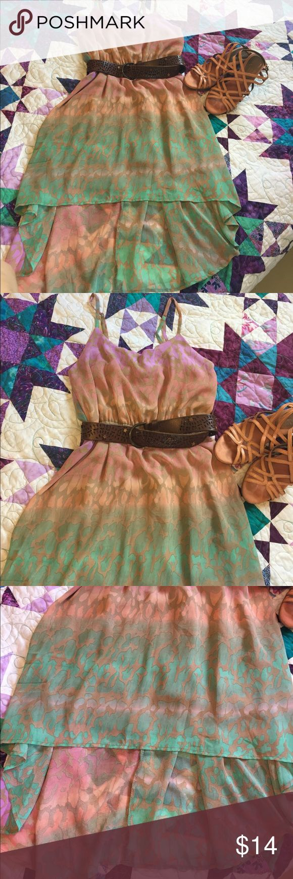 Hi low dress from Delias Bright summer dress 👗 with hi low skirt.  Only worn twice that I can remember. EUC delias Dresses High Low
