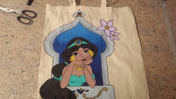Disney jasmine hand painted canvas bag by rosiebouquet on Etsy