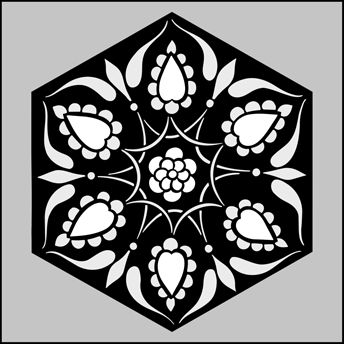 Click to see the actual OTT34a - Hexagonal No 4 stencil design.